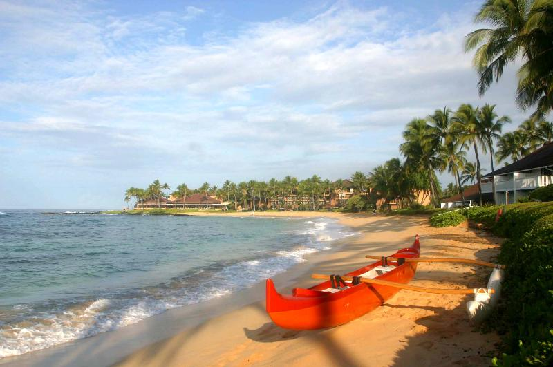 canoe on Poipu Beach
