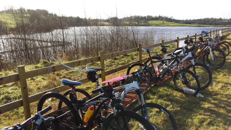Biking at the lake (at the borrom of our drive) 1.5 mile path around the local nature reserve