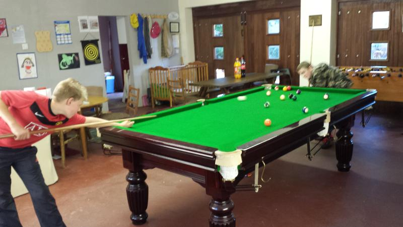 Games room with slatebed snooker/pool table, table football, wii and table tennis