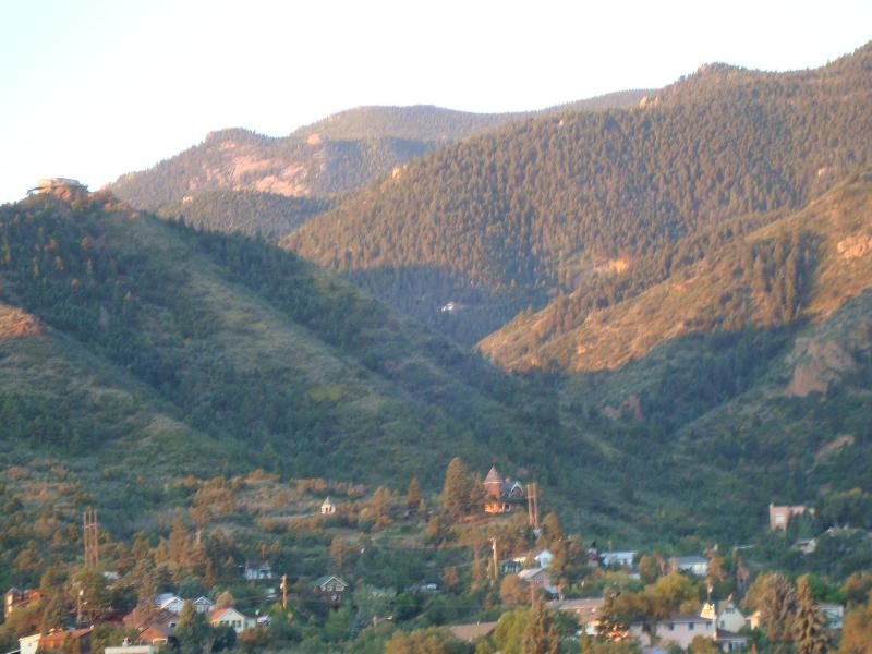 THIS PICTURE WAS TAKEN FROM THE DECK. ZOOMED ON THE CASTLE IN THE FOOTHILLS.