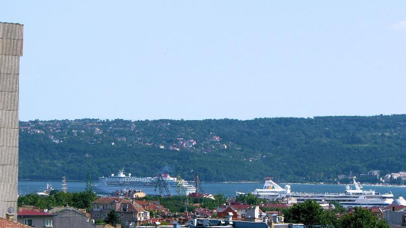 Cruise ships at Varna Bay viewed from the balcony