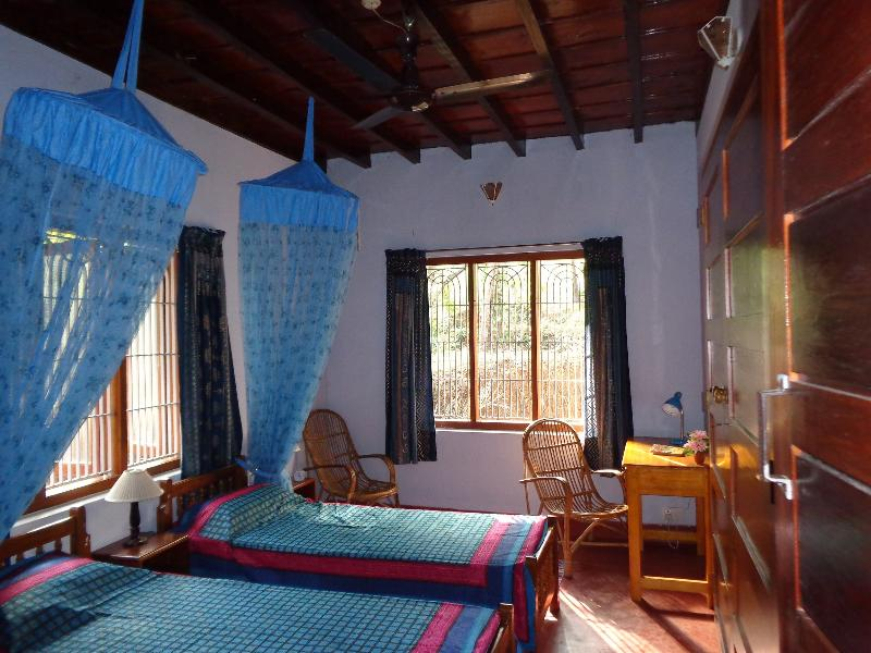 Twin beds and mosquito nets are provided