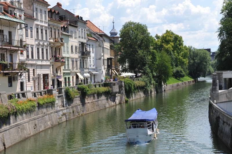 Ljubljana - street view over Ljubljanica river
