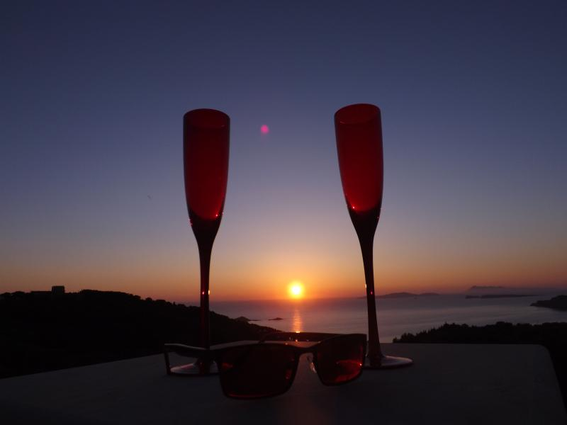 Grab your glass - enjoy the sunset from Villa Panayia