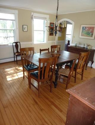 Dining room with windows facing south