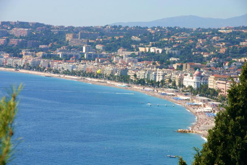 View of Nice, and the apt is in the center of the picture, 10 minute walk to the beach