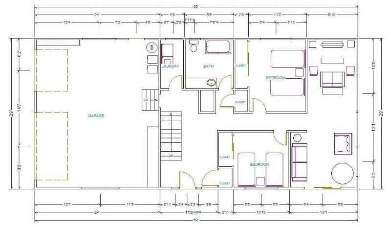 1er nivel FloorPlan: garaje, rm lavadero, baño, 2 dormitorios pequeños, sala de Familia