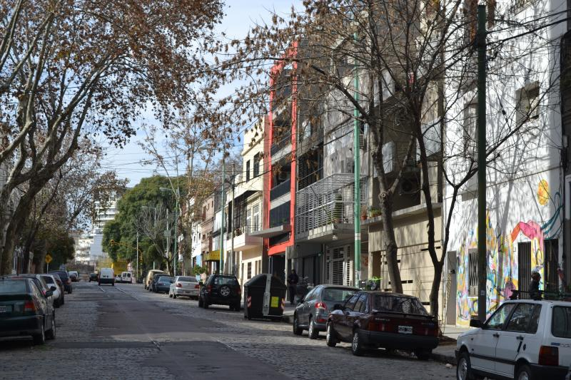 Street view of the beatiful Palermo Viejo.  The flat entrance is on the right.