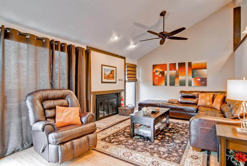 Comfortable Livingroom with wood buring fireplace