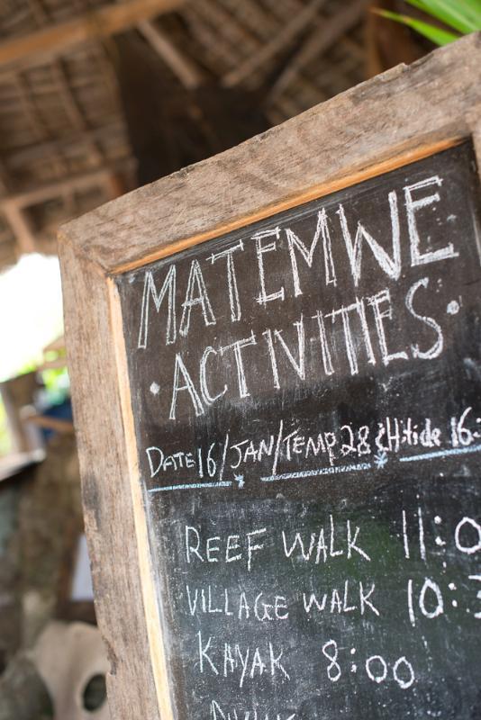 Matemwe Beach House - Activities Board