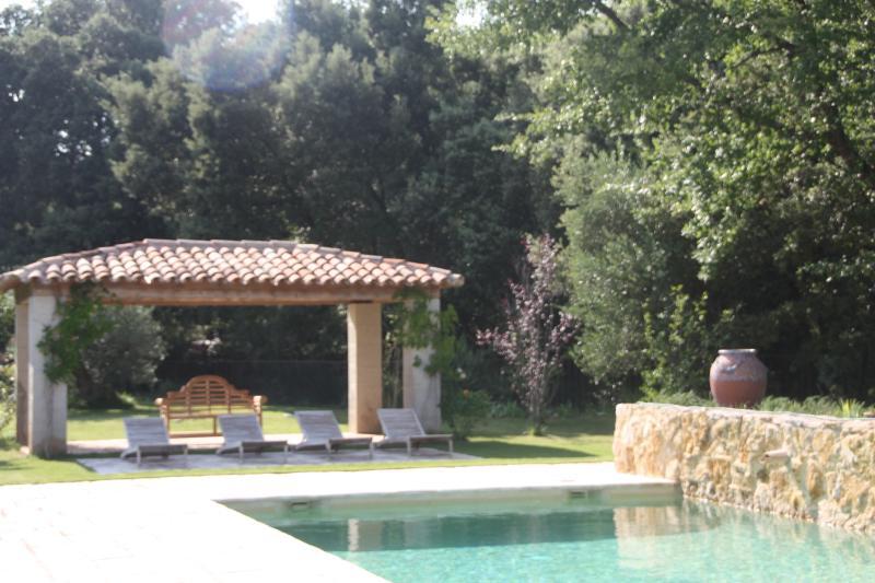 Espace détente au bord de la piscine