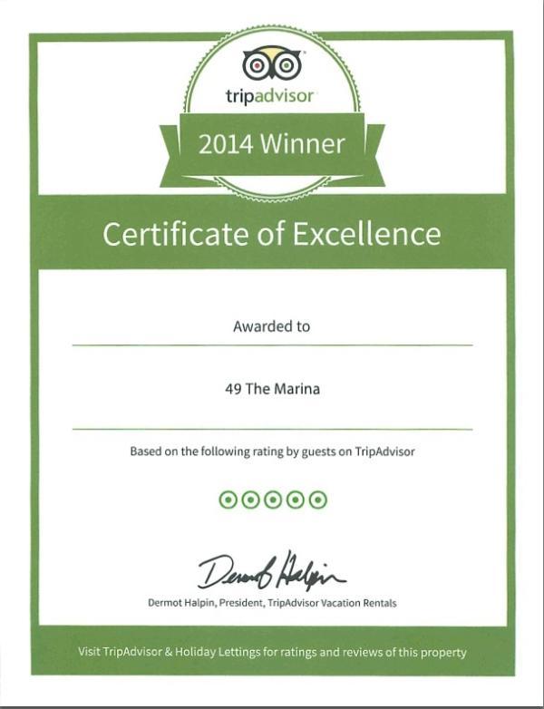 Fier de recevoir un certificat d'excellence de Tripadvisor chaque année depuis 2014