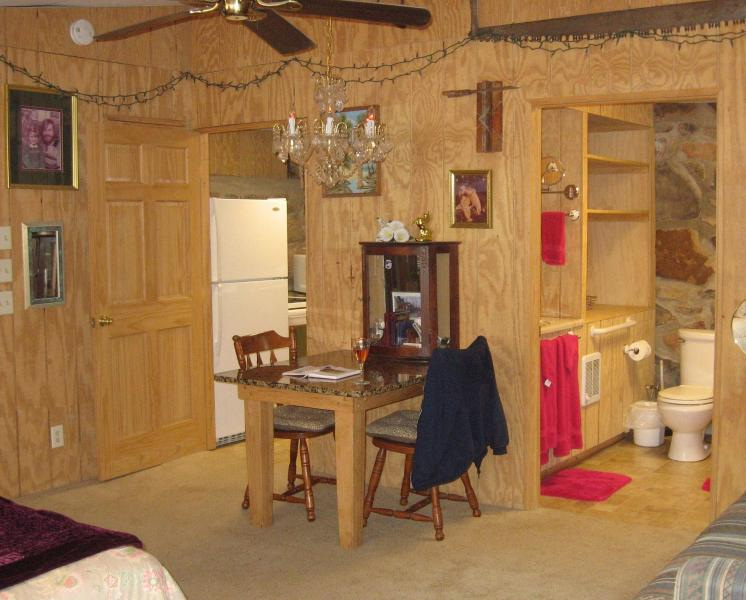 Full kitchen and a full size handicap accessible bathtub and shower.
