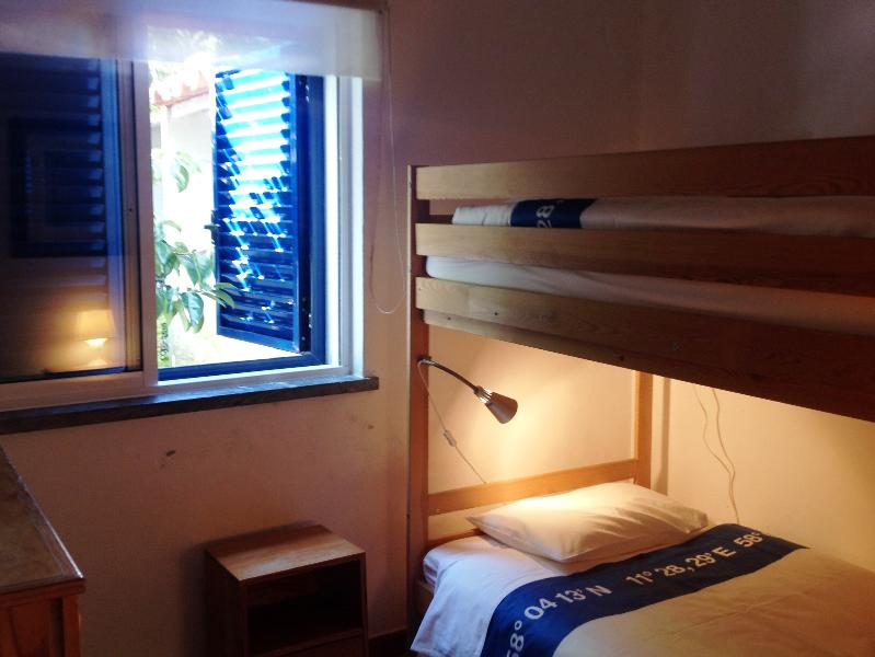 De kamer met stapelbedden.