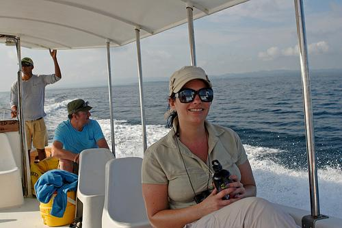 Guests to Casa Linda often take a tour of the gulf on this comfortable shaded boat