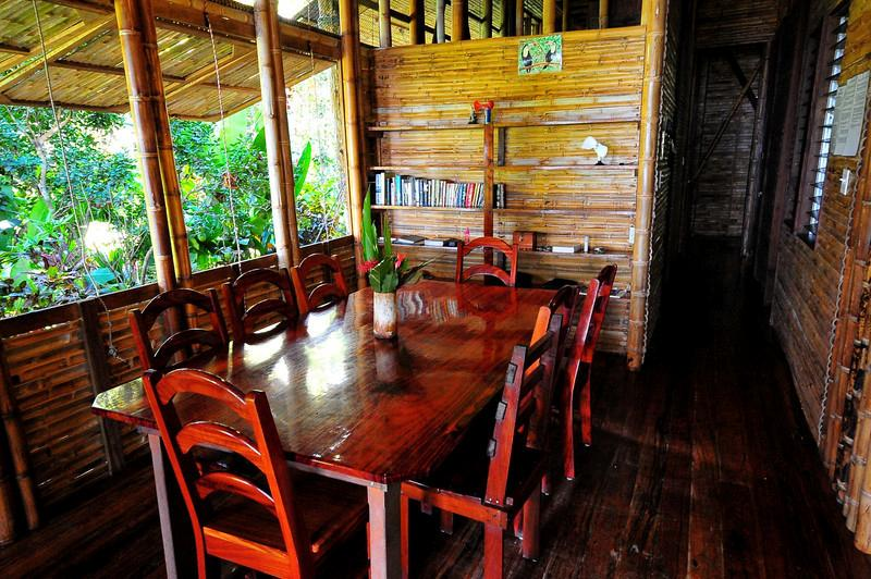 dining room with comfortable seating for eight
