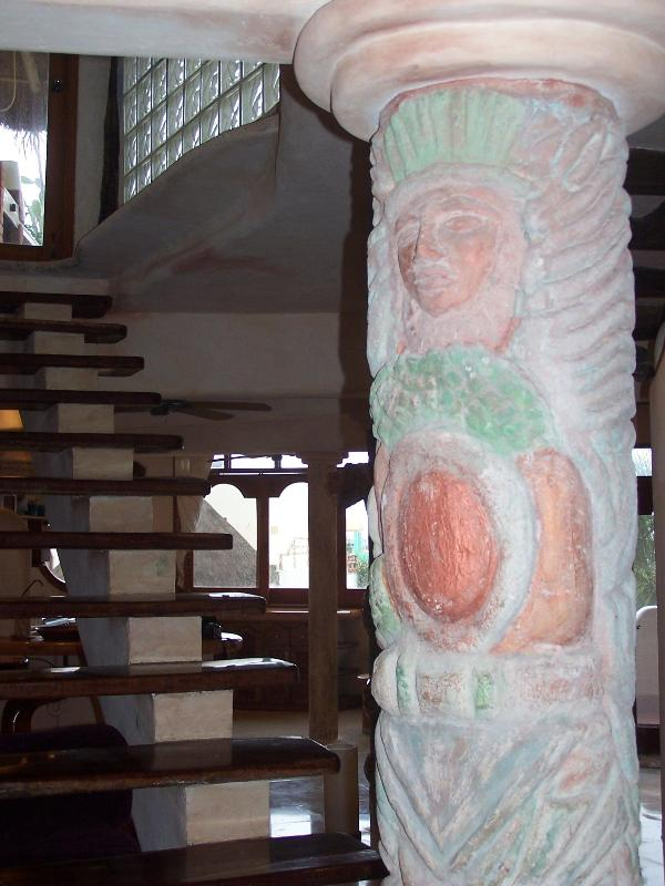Mayan Soldier carved into pillar