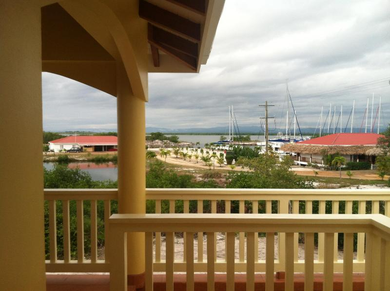 A view of the lagoon from the veranda, with The Moorings Marina in the foreground.