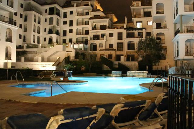 The middle pool at night