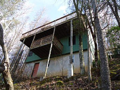Back view of the of the cabin. 2 story with an unfinished basement.