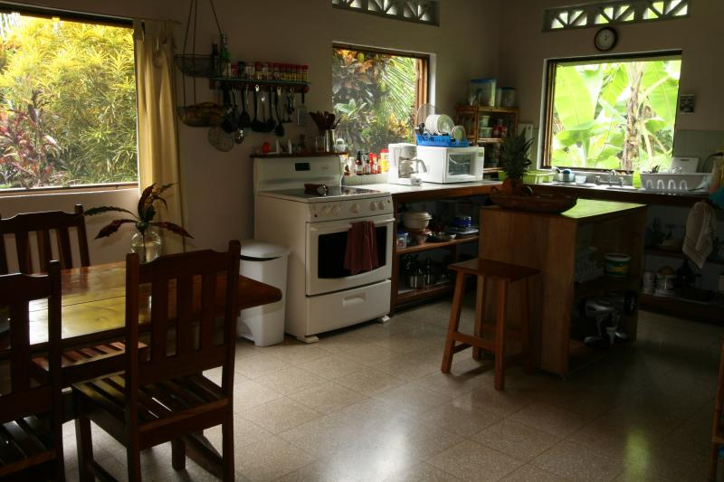 The well-equipped kitchen has everything you need to prepare and share meals.
