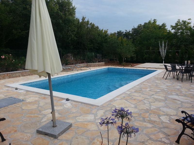La piscina es compartida entre los 4 apartamentos de la casa.