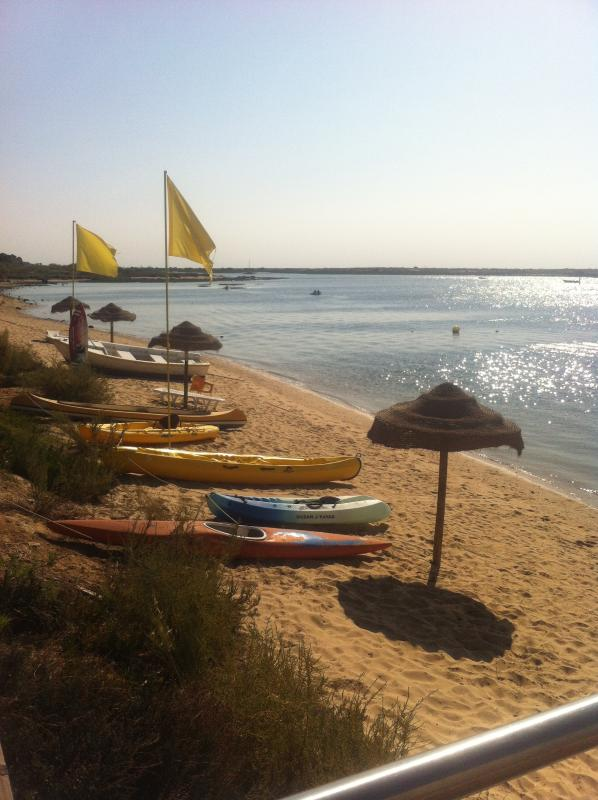 Canoes for hire on beach