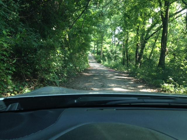 Long narrow gravel driveway