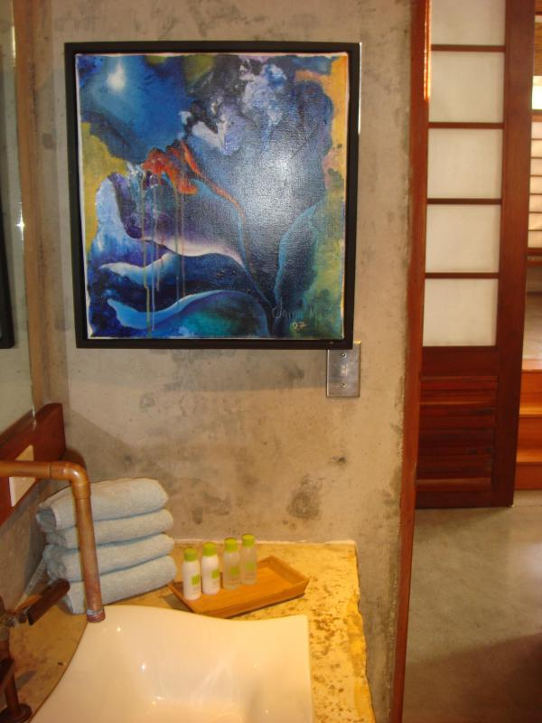 Original Nicaragua Art Work in small guest Bathroom