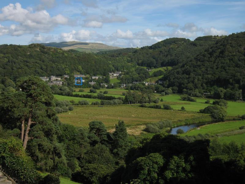 Maentwrog Village from Plas Tan y Bwlch - Dolydd Cottage located in blue box