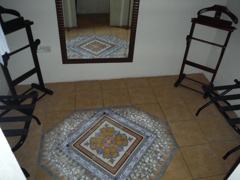Mosaic in the walk-in closet.