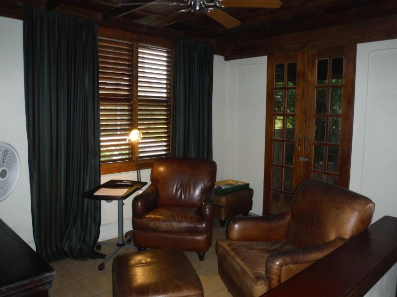 TV room with doors to the terrace closed.