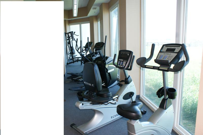 One small area of fitness center which includes sauna and private showers.