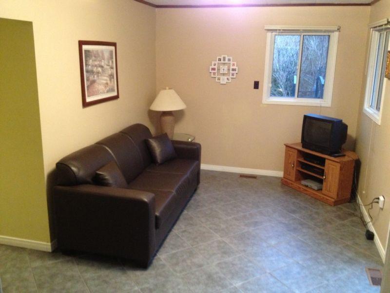 Otro espacio de sala de estar con sofá tire
