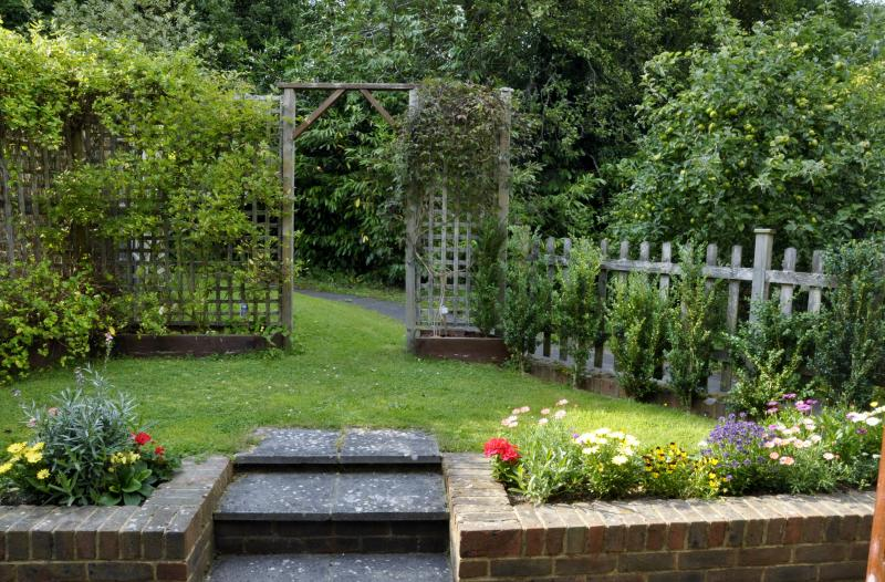 View of the small enclosed garden which leads off Pippin's bedroom