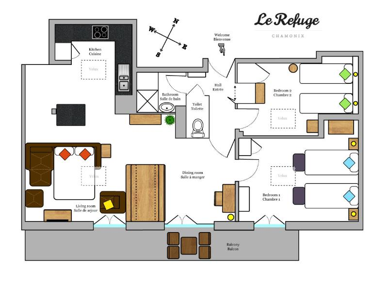 Floorplan with single bed preparation and the sofa bed set up