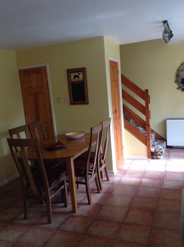 Dining area for six, high chair available
