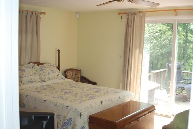 Master bedroom, with sliders to backyard deck,TV, ceiling fan and wall AC