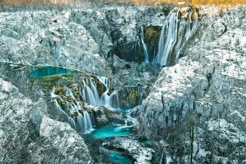Les lacs de Plitvice en hiver