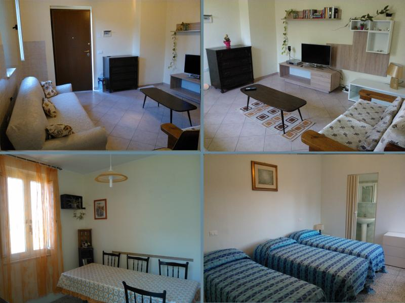 The living room and one of the bedrooms