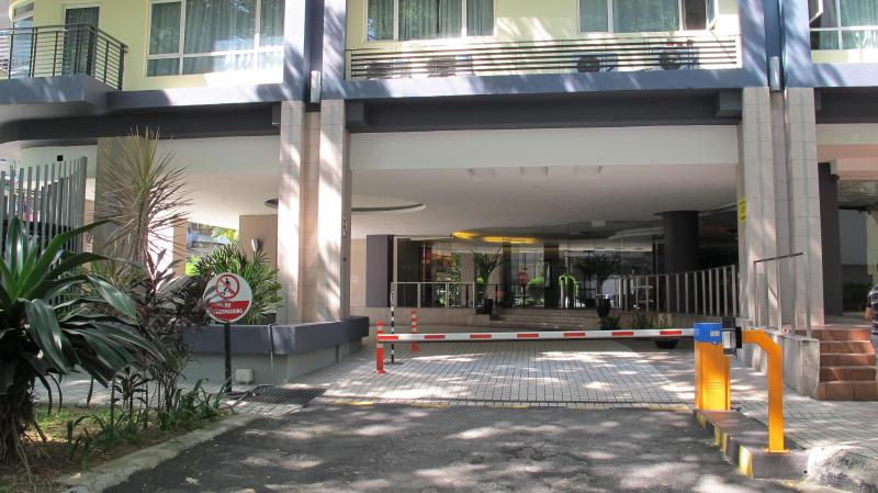 The main entrance of the building