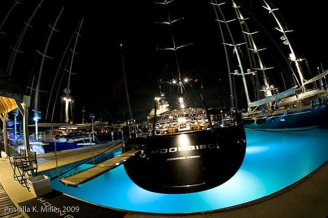 View of the marina by night