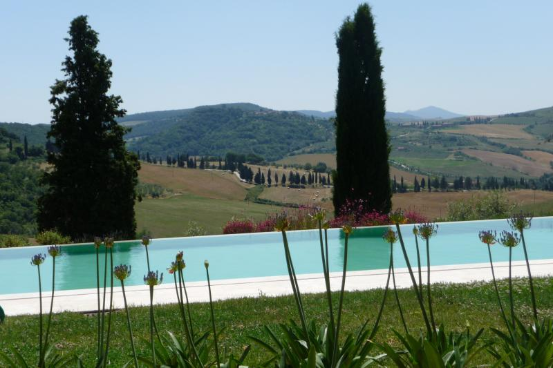 Breathtaking view from the infinity pool over the typical landscape of the Val d'Orcia