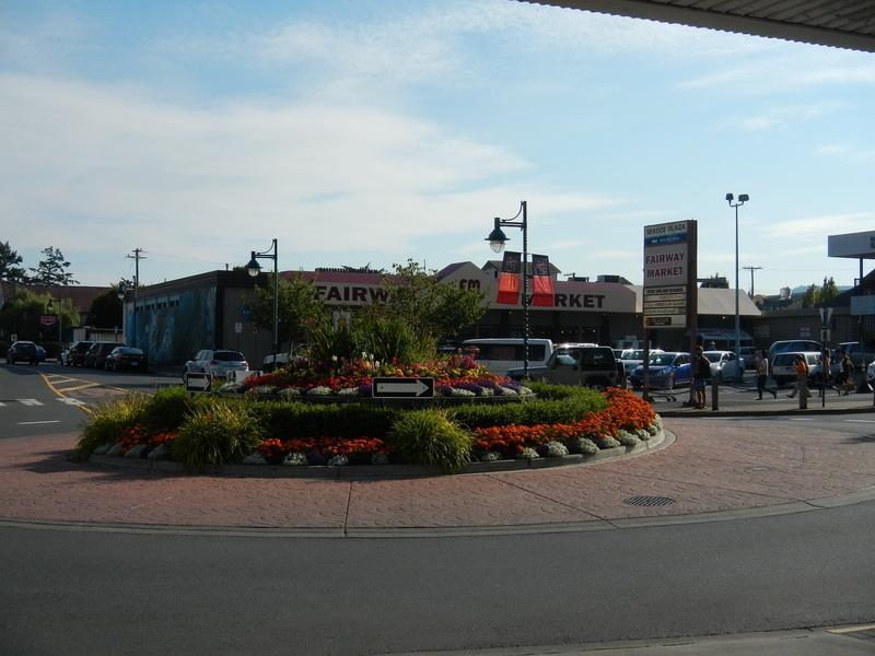 Roundabout on Beacon adjacent to the Landmark Building, grocery store across street