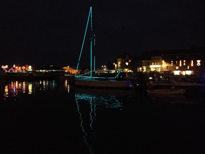 Padstow harbour by night