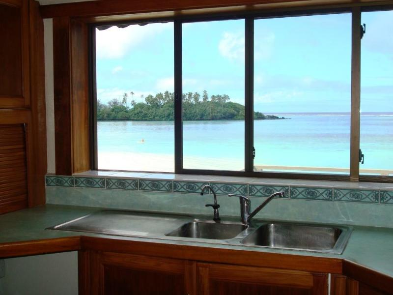 View from the kitchen out to the lagoon and islands