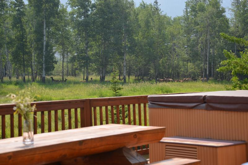 Enjoy wildlife while dining on the deck