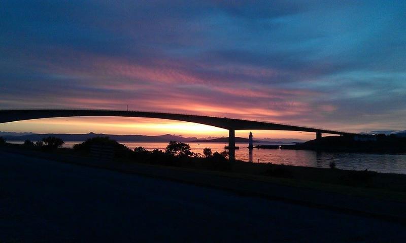 A beautiful sunset over the Skye Bridge