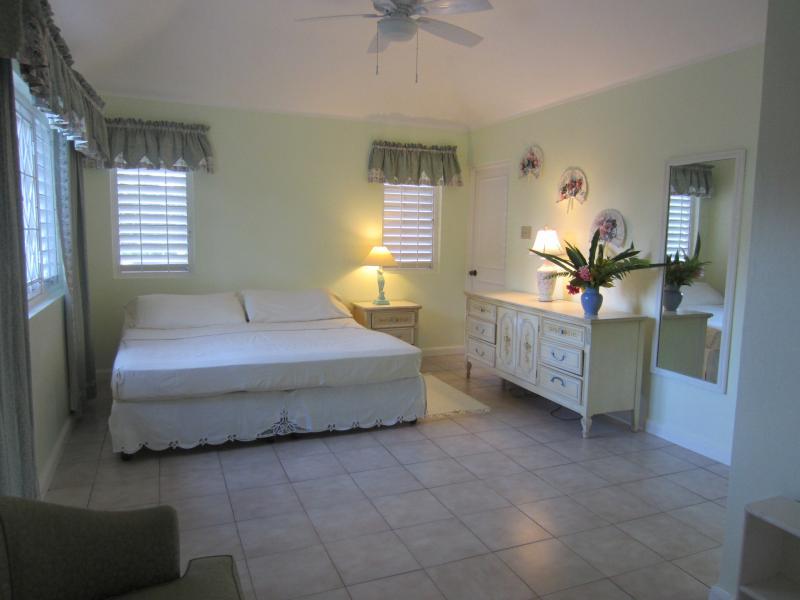 Over the Moon's Master bedroom - Californian king bed, AC, ceiling fan, en-suite bathroom