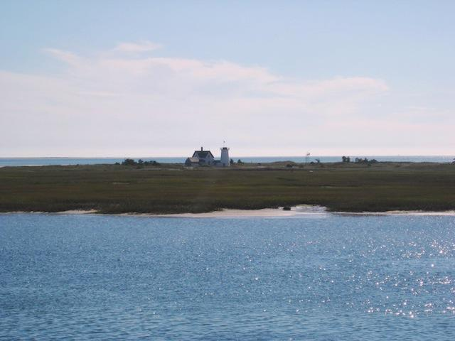 View of Oyster River looking out the Stage Harbor Lighthouse and Nantucket Sound. Take the kayak over for a closer look! - 30 Seabeach Road Chatham Cape Cod New England Vacation Rentals
